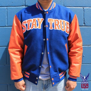 Image of Stay True Varsity Jacket (leather)