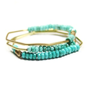 Image of Faceted Turquoise Hand Forged Brass Bracelet