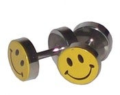 Image of Fake Plugs Smiley Face Faux 1.7cm Diameter Gauges Stainless Steel 16G Studs