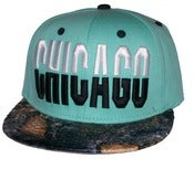 Image of Chicago Tiffany Blue Custom Dye Croc Print Snapback Hat