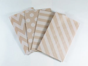 Image of Kraft Patterned Gusset Paper Bags