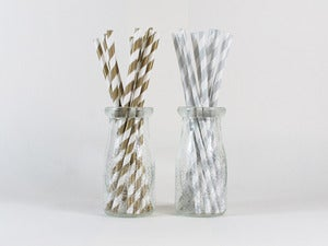 Image of Metallic Striped Paper Straws