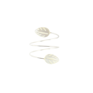 Image of Zola. White Leaf Wrap Ring