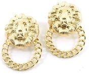 Image of LION FACE POST EARRINGS