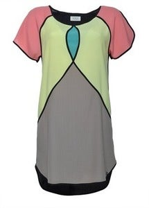 Image of Numph filippa yellow green pink colour block dress