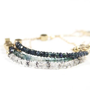 Image of Faceted Sapphire and Pyrite Stacking Bracelet #1
