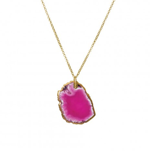 Image of Poppy Natural Stone Necklace:: Raspberry Pink