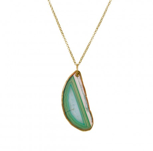 Image of Poppy Natural Stone Necklace:: Emerald Green