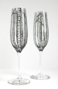 Image of Personalized Birch Tree Toasting Flutes - Set of 2 Hand Painted Wedding Champagne Flutes