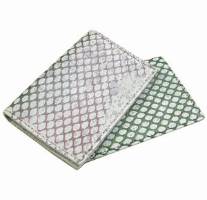 Image of Metallic Leather Fishnet Oyster Card Holder