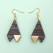 Image of Triangle Tribal Print Black & Gold Earrings by Rachel Loves Bob