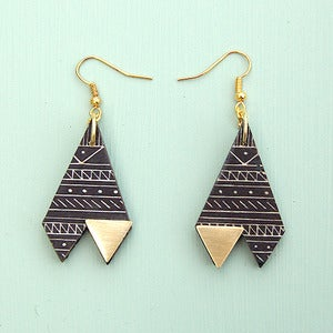 Image of Triangle Tribal Print Black &amp; Gold Earrings by Rachel Loves Bob