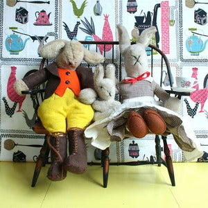 Image of Vintage Rabbit Family &amp; Bench - SOLD