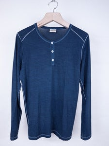 Image of Rambler's Way - Indigo Dyed Fine Wool Henley Top