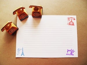 Image of Wooden Rubber Stamp and ink pad set