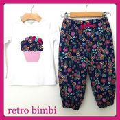 Image of Size 2~Harem Pants &amp; Top Set~Navy Floral