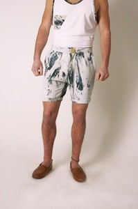 Image of Linen Marble Dyed, Double Pleated Shorts