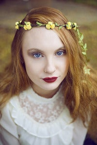 Image of Yellow Floral and Green Ivy Leaf Trim Festival Flower Hair Crown Hair Garland