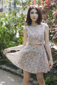 Image of Feather Print Fit & Flare Dress with Midriff Cutout - Collaboration with Oslo and Alfred