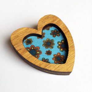 Image of Heart Brooch - Floral in Aquamarine (Free Shipping)