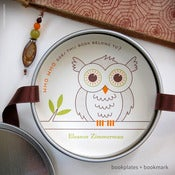 Image of Owl Personalized Bookplates + Beaded Bookmark {#328}