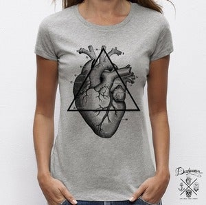 Image of T-shirt gris &quot;Love will tear us apart&quot; by Dadawan X Camille Stella 