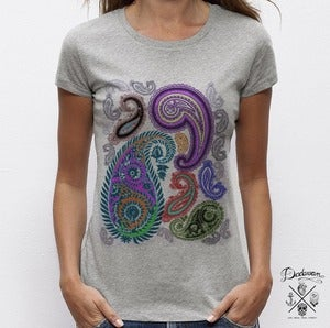Image of T-shirt gris femme cachemire