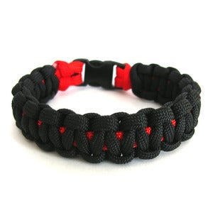 Image of Survival paracord bracelet (Charcoal/Red)