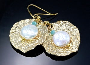 Image of Cultured Pearl, Blue Chalcedony and 14K Gold-Plated Brass Earrings