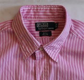 Image of Polo Pink Butcher Stripe Shirt, size 16 1/2 x 34