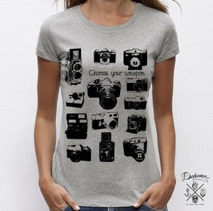 Image of T-shirt femme gris Vintage cameras by Dadawan 