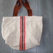 Image of Red and Black Striped Tote Bag.