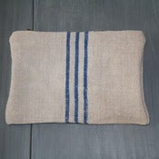 Image of Antique Linen Pouch - Swedish Blue