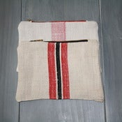 Image of Antique Linen Pouch - Reds