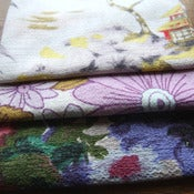 Image of Anemone Vintage Barkcloth fabric Scrap Bag