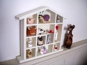 Image of Wooden Hand-painted House Shaped Ornament Display Unit - Free Shipping
