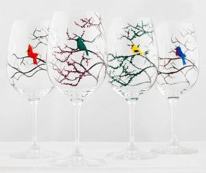 Image of Seasonal Birds Wine Glasses - Cardinal, Bluebird, Yellow Finch and Hummingbird