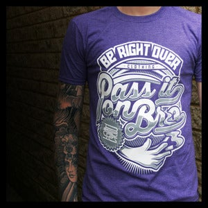 Image of 'PASS IT ON BRO' T-shirt Heather Purple