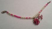Image of Chanel Pink Camellia and Silver Bracelet