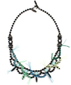 Image of Let Them Eat Cake Crystal Necklace W/Blue Combo Thread Details - Jet/Blue Combo