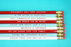 Image of Reasons to love type pencil set