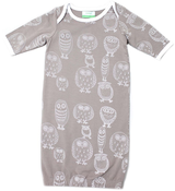 Image of Organic Newbie Gown - Owl, Grey