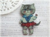 Image of Sailor Girl Kitty Cat Brooch