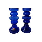 Image of Pair of 1960s Ingrid Glass Candleholders