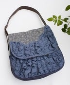Image of - S O L D - extra large tough ruffles shoulder bag in vintage blue-greys (a)