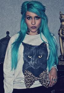 Image of Black Cat Leopard Print Bow Jumper