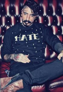 Image of ALICE BOYS Hate Cross Print Black Jumper