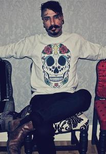 Image of Sugar Skull Rose Cross Print Grey Jumper
