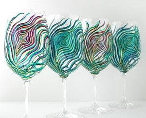Image of Regal Peacock Feather Wine Glasses - 4 Piece Hand Painted Wine Glass Collection