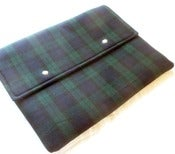 Image of 15 inch Laptop Sleeve, Macbook Pro Case, Black Watch Tartan Wool